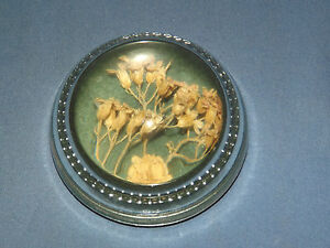 VINTAGE-1960-70S-DRIED-FLOWERS-SEALED-IN-GLASS-DOME-PAPERWEIGHT