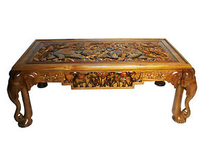 Hand Carved Solid Wooden (Teak) Rectangle Elephant Coffee Table From Sri Lanka