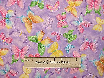 Butterfly Glitter Fabric - 100% Cotton - Butterflies Toss Purple - 23 Inches