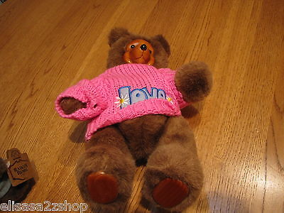 Robert Raikes bear Pink love sweater Terry 17010 RARE 1988 brown wood face paws