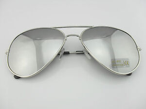 New-Mens-Womens-Aviator-Style-Sunglasses-Metal-Frame-Silver-Mirrored-Lens