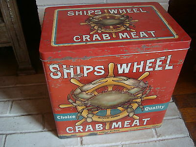 LARGE RUSTIC SHIPS WHEEL CRAB MEAT CANISTER Seafood Restaurant Food Storage Tin