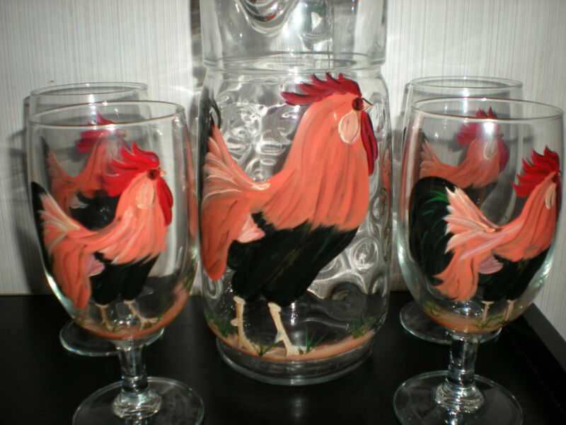 HAND PAINTED COUNTRY ROOSTER  PITCHER AND 4 ICE TEA GLASSES SET