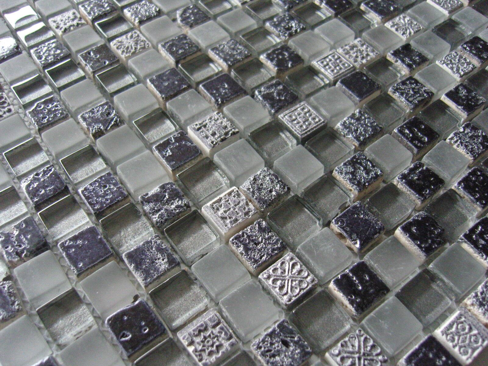 glasmosaik mosaik fliesen klarglas ornament schwarz silber grau aztek 15x15 eur 12 95. Black Bedroom Furniture Sets. Home Design Ideas