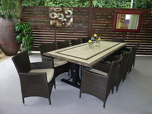 Outdoor Wicker Furniture 11 Piece Natural Stone Dining Table 10 Chairs NEW