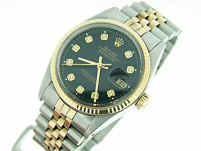 Mens Rolex 2Tone 18k Yellow Gold/Steel Datejust Date Watch w/Black Diamond Dial