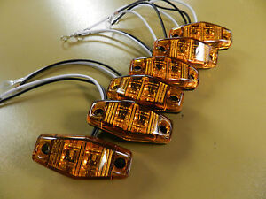 (6) LED Light 2 Diode AMBER 1x2.5 surface mount Clearance side marker trailer