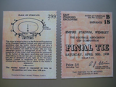 1938 F.A. Cup Final Ticket Preston North End v Huddersfield Town Mint condition