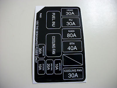 new 90-93 mazda miata under hood fuse box cover sticker ... fuse box under hood of 06 chevy hhr 96 miata fuse box under hood