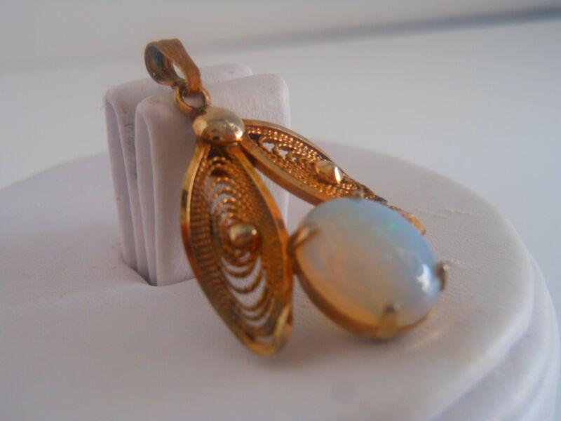 Antique  Filigree Opal Pendant