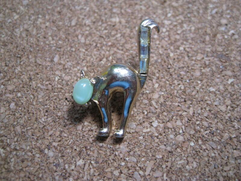 cat pin CORO scaredy cat halloween rhinestones green cabochon circa 1940