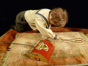 RARE-amp-AMAZING-MECHANIZED-GERMAN-DOLL-RUG-OR-SWEEPER-ANIMATED-BUSINESS-DISPLAY