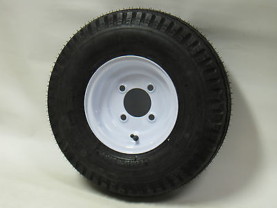 "*2* 4.80-8 LRC 6 PR Bias Trailer Tire on 8"" 4 Lug White Steel Wheel 4.80x8"
