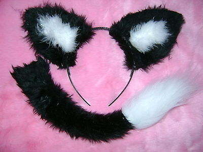 Black And White Halloween Fox Ears & Tail Set Faux Fur Instant Fancy Dress - Fox Ears And Tail Set Halloween