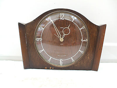 Smiths Oak Case Electric Movement Mantle Clock 7