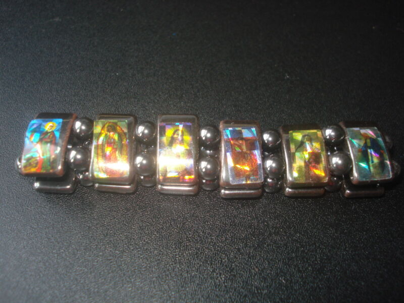 BEAUTIFUL & COLORFUL HOLY SAINTS HEMATITE STREATCHABLE BRACELET(USA SELLER)(3M2)