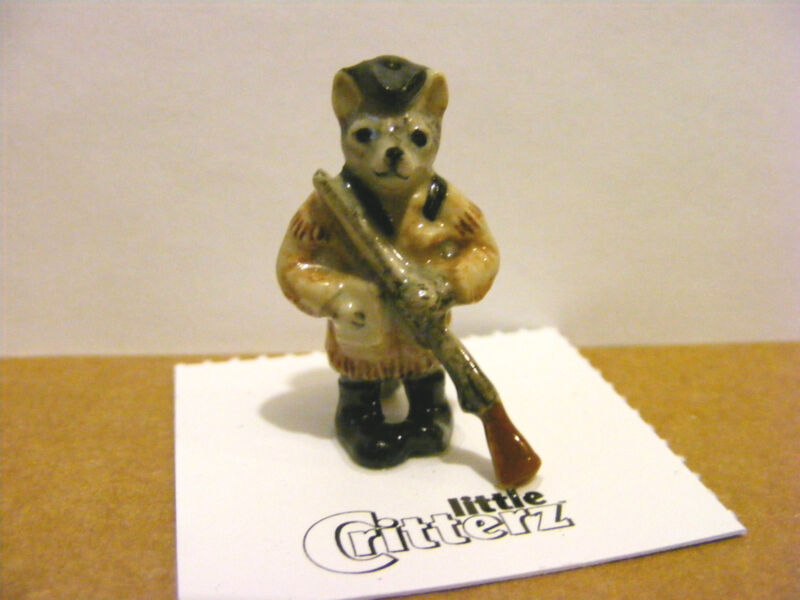"Little Critterz ""Lewis"" The Gray Fox,  Mini Animal Figurine, American History"