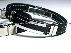 Men's Black Silver Stainless Steel Rubber Bracelet