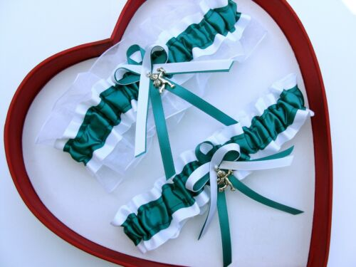 NEW Jade White Wedding Garter SELECT SingleSetRegPlus SizeCharm