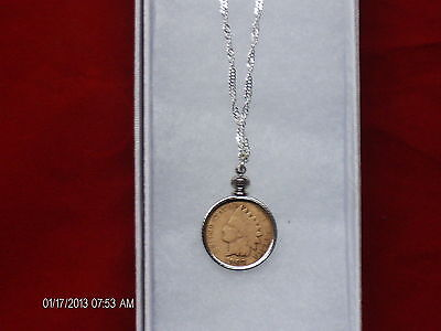 """18""""sterling silver necklace with coin bezel  Real indian head penny"""