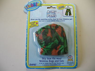 Webkinz: Army Pants, Made By Ganz, Brand & Sealed With Code