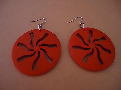 Boucles D'oreilles - Rouges - Diamètre 4.8 Cm