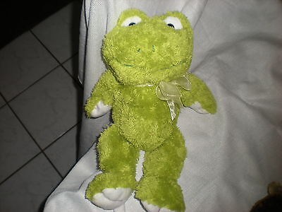 14 White Green Super Soft Frog Froggy Purple Stitching Sheer Bow Lovey Baby