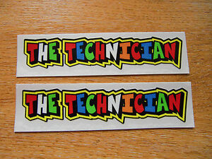 Valentino-Rossi-style-text-THE-TECHNICIAN-x2-stickers-decals-5in-x-1in