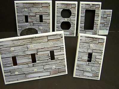Rustic Stacked Stone Wall Design Shades Of Gray Light Switch Or Outlet Cover