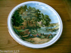INGROW-POTTERY-KEIGHLEY-LARGE-COLLECTOR-PLATE-FISHING-COUNTRY-SCENE-26-CM