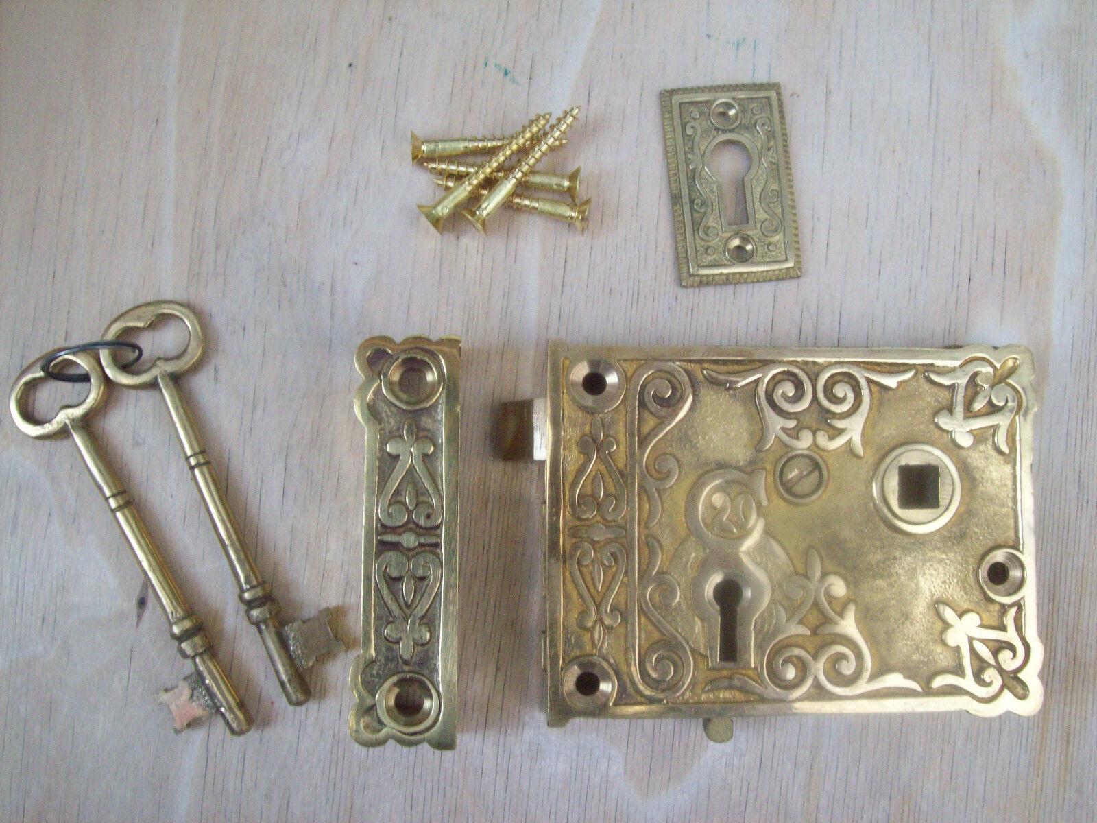 Fancy Ornate Decorative Old Victorian Style Solid Brass Door Rim Lock Knob Set Cad
