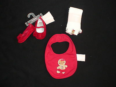 Gymboree Gingerbread Girl Holiday Christmas Cookie Crib Shoes Tights Bib