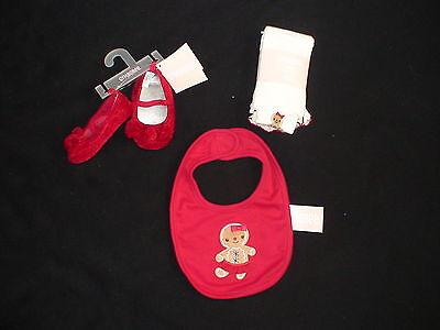 Gymboree Gingerbread Girl Holiday Christmas Cookie Crib Shoes Tights Bib
