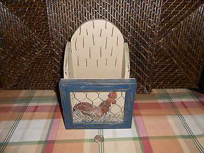 Wall hanging wood box letter holder chicken in coop design