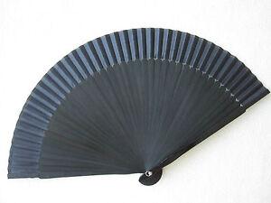 Fächer Handfächer Taschenfächer aus Stoff und Bambus Schwarz