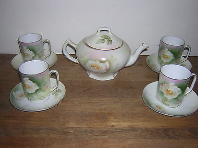 Antique Prov Saxe ES  Germany Tea Set Teapot w Demitasse Cups 1900's White Rose on Rummage