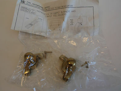 1991 Renovators Supply Solid Brass Carpet Rod Holders Stairway Accessories Nip