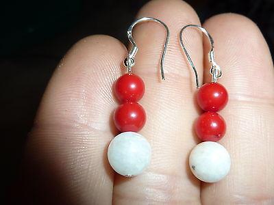 Boucles D'oreilles Corail Rouge-pierre De Lune 8-6 Mm Monture Argent 925
