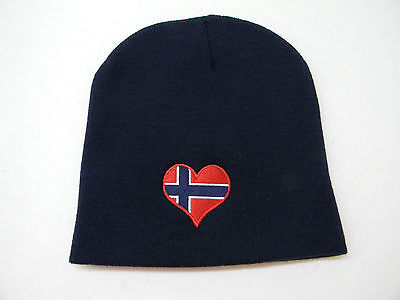 Scandinavian Norwegian Norway Heart Flag Knit Beanie Hat Embroidered Kh35