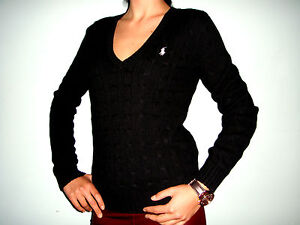 New Original Polo Ralph Lauren Cable V-Neck Women Sweater