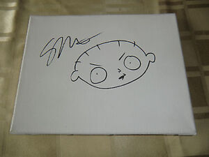 SETH MACFARLANE SIGNED 18X24CM CANVAS FAMILY GUY STEWIE GRIFFIN AMERICAN DAD COA