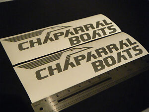 Chaparral-Boats-Vintage-Silver-Metallic-Decal-12-Stickers-Pair