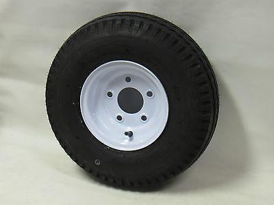 "4.80-8 LRB 4 PR Bias Trailer Tire on 8"" 5 Lug White Steel Trailer wheel 4.80x8"