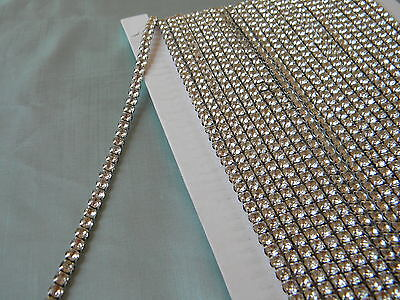 10 Yards Crystal Rhinestone Banding Trim Silver-black Mesh3/1619ss