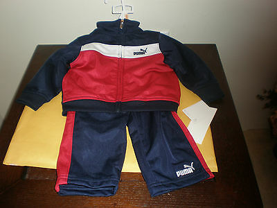 Puma Size 12 Months 2 Piece Track Jogging Sweat Suit Red, Blue & White