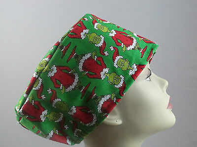 Womens Surgical_scrub Hat Christmas Grinch Red Suit Lime Green Free Us Shipping