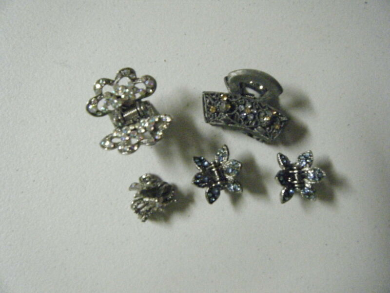 5 HAIR CLIPS WITH CRYSTALS
