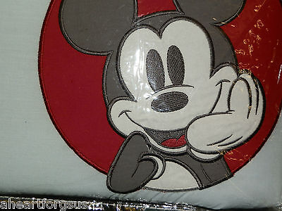 Disney Crib Bumper Pad Mod Mickey Mouse Baby Stripes Circles Red White Blue
