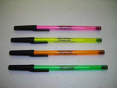 Personalized Custom Printed Pretty Colorful Stick Pens (100) Your Text Included