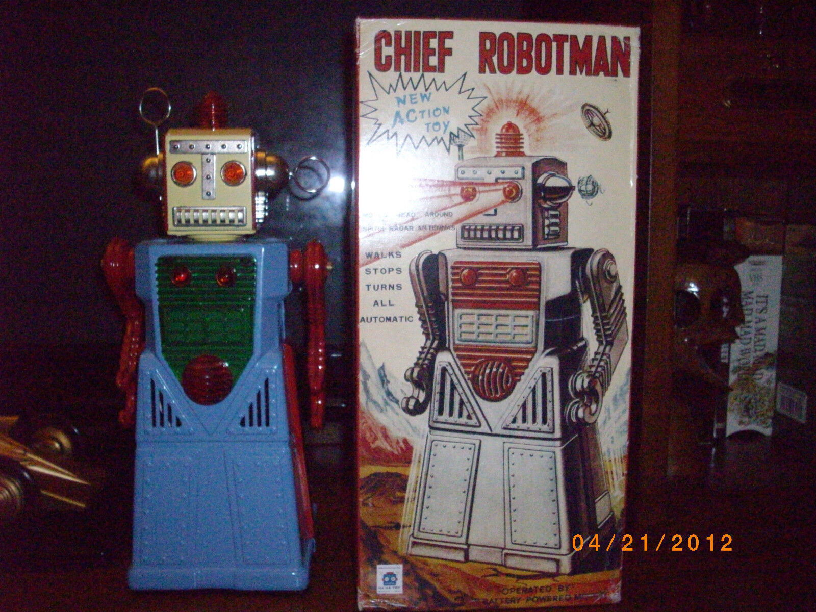 Chief Robotman Tin Battery Op Space Robot Light Blue Body Bump & Go Action